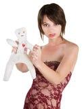 Madame fâchée avec la poupée de vaudou image libre de droits