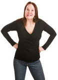 Madame frustrante avec des mains sur des gratte-culs image libre de droits