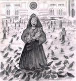 Madame Fun d'oiseau avec les pigeons. Images libres de droits