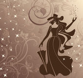 Madame Magic. Image vector. Lady magician with hat and umbrella on the magical background of the flowers and stars Stock Images