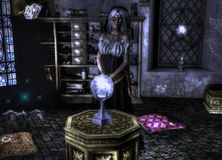 Gyspy fortune teller. Fantasy gypsy fortune teller on a temple with a crystal ball Stock Photography