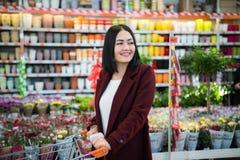 Madame poussant un caddie dans le supermarché image libre de droits