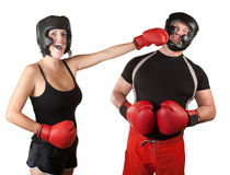 Madame riante Boxer Punches Man Images libres de droits