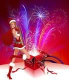 Madame Santa Claus avec des feux d'artifice Photos stock