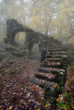 Madame Sherri Castle Ruins in Autumn fog. Curving stone stairs of Madame Sherri Castle Ruins in Autumn fog, early morning with foliage in foreground; near Stock Photo
