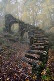 Madame Sherri Castle Ruins in Autumn fog stock photo