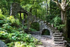 Castlel ruins in Chesterfield New Hampshire. Madame Sherri`s Castle ruins in Chesterfield NH winding stone staircase is all that is left of this grand old Stock Photo