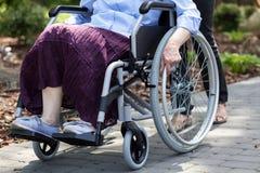 Madame sur un fauteuil roulant en parc Images stock