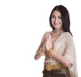 Madame thaïlandaise dans le vêtement original de la Thaïlande de vintage Photos stock