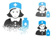 Madame tramée pointillée dispersée Icon d'apothicaire avec le visage illustration stock