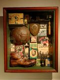 Showcase with football souvenirs