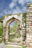 Remains of archway in Madan Mahal fort, Jabalpur, India. Madan Mahal Fort situated on a top of a hill dates back to 11th century AD Stock Image