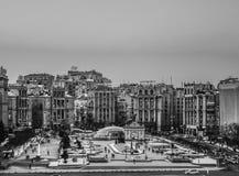 Madan Nezalejnosti, Kiev, Ukraine. Independence squere in black and white,  old photo style Royalty Free Stock Image