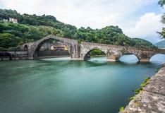 Maddalena Bridge, Borgo a Mozzano, Lucca, Italy, important medieval bridge in Italy. Tuscany. stock photo