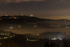 Maddalena hill. Night view of the foggy hill maddalena, turin Royalty Free Stock Images