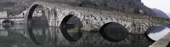 Maddalena's bridge, Borgo a mozzano, Italy Stock Photography