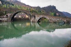 Maddalena's bridge, Borgo a Mozzano, Lucca, Italy. Panorama of Maddalena'bridge, called also diable's bridge, Borgo a Mozzano, Lucca, Italy Stock Photo