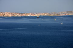 Maddalena town. View of the island Maddalena and main touristic town Stock Photo