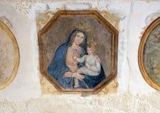 Maddona und Kind im Museo Nazionale D& x27; Arte Medievale in Matera Italien lizenzfreies stockbild