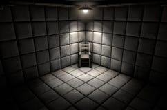 Maddrasserade cellen och tömmer stol Arkivbilder