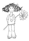 Maddy black and white. Design of curls girl with a flower in hand Royalty Free Stock Photography