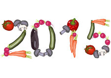 2015 made ​​of various vegetables. 2015 numbers made of various vegetables Stock Photography