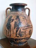 made with adobe cube vase on the island of Samothraki Royalty Free Stock Image