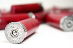 Made in America. A shotgun shell stamped with made in the usa on a white background Royalty Free Stock Photo