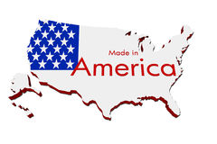 Made in America. A red, white and blue map of the USA with Made in America isolated on a white background, Made in America Royalty Free Stock Image