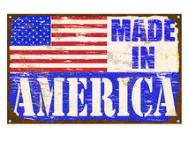 Made In America Enamel Sign. Made in America rusty old enamel sign Stock Image