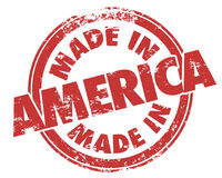 Made in America Round Red Grunge Stamp USA Manufactured Product Royalty Free Stock Images