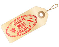 Made In America tag. Tag with MADE IN AMERICA Rubber Stamp Stock Images