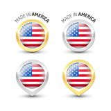 Made in America USA - Round labels with flags royalty free illustration