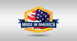 Made in America USA seal on white background Stock Images