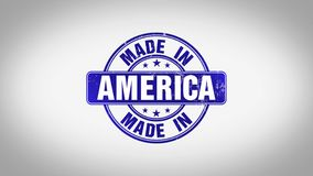 Made in America Word 3D Animated Wooden Stamp Animation stock footage