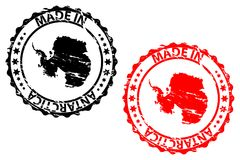 Made in Antarctica rubber stamp. Made in Antarctica - rubber stamp - vector - Antarctica continent map pattern - black and red vector illustration