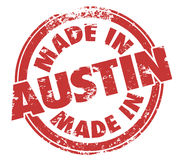 Made in Austin Texas Round Red Ink Grunge Stamp Proud Origin. Made in Austin words in a round grunge style stamp to illustrate pride in a product or service Stock Photos