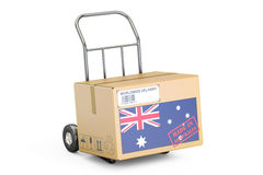 Made in Australia concept. Cardboard Box on Hand Truck, 3D rende Royalty Free Stock Images