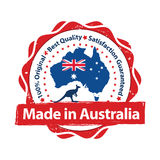 Made in Australia, Premium Quality, because we care stamp. Made in Australia, Premium Quality , because we care - grunge label containing the Australian flag Stock Photo