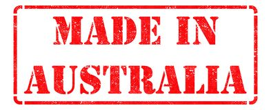 Made in Australia - Red Rubber Stamp. Royalty Free Stock Photo