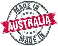 Made in Australia stamp. Made in Australia round ribbon stamp isolated on white background. Australia stock illustration