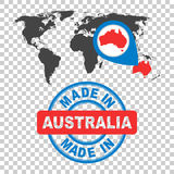 Made in Australia stamp. World map with red country. Vector embl Stock Image