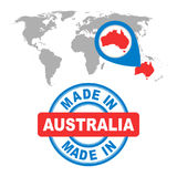 Made in Australia stamp. World map with red country. Vector embl Stock Photography