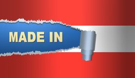Made in Austria, flag. Best illustration Royalty Free Stock Photos
