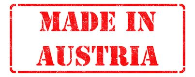 Made in Austria - Red Rubber Stamp. Stock Images