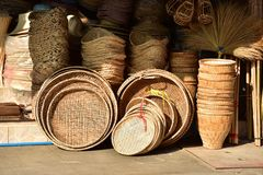 Made baskets shop.Traditional Thai woven straw texture. Made baskets shop.There are many kind of basket that are made of bamboo.Traditional Thai woven straw royalty free stock photos
