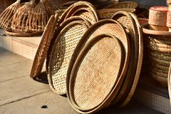 Made baskets shop. Traditional Thai woven straw texture. Made baskets shop. There are many kind of basket that are made of bamboo. Traditional Thai woven straw stock photo