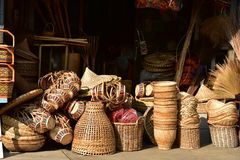 Made baskets shop. Traditional Thai woven straw texture. Made baskets shop. There are many kind of basket that are made of bamboo. Traditional Thai woven straw royalty free stock images