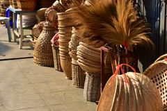 Made baskets shop. Traditional Thai woven straw texture. Made baskets shop. There are many kind of basket that are made of bamboo. Traditional Thai woven straw stock photography