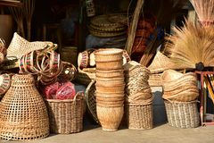 Made baskets shop.Traditional Thai woven straw texture. Made baskets shop.There are many kind of basket that are made of bamboo.Traditional Thai woven straw royalty free stock images